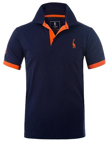 GLESTORE Polo para Hombre de Manga Corta Collar Camisa Golf MT1030 de Tenis  Camiseta Azul Negro 45fb597d706a7