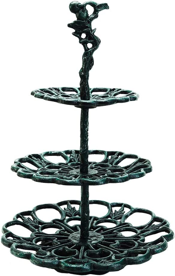 Sungmor Cast Iron 3 Tier Cupcake Stand - Heavy Duty Vintage Eggs Holder - Elegant Center Table Fruits Cake Display Rack Food Dispenser - Multi-Purpose Stands for Wedding Party Christmas Decor