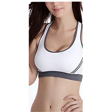 87953e368e Sexy Womens Shock Absorber Push Up Padded Pump Sports Bra Racerback Crop  Top Running Aerobics Gym