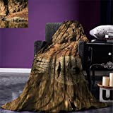 smallbeefly Africa Digital Printing Blanket Nile Crocodile Swimming in the River Rock Cliffs Tanzania Hunter Geography Print Summer Quilt Comforter Brown Tan