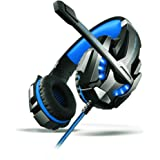 Cuffia Gaming per PS4, Aoso Cuffie Gaming Headset Auricolare con Microfono Stereo Bass Luce LED Regolatore di Volume Cancellazione di Rumore per PC Nero e Blu Con Imballo