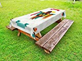 Ambesonne Southwestern Outdoor Tablecloth, Ethnic Composition with an Eagle in Native American Style Folk Totem Symbol, Decorative Washable Picnic Table Cloth, 58 X 84 Inches, Multicolor