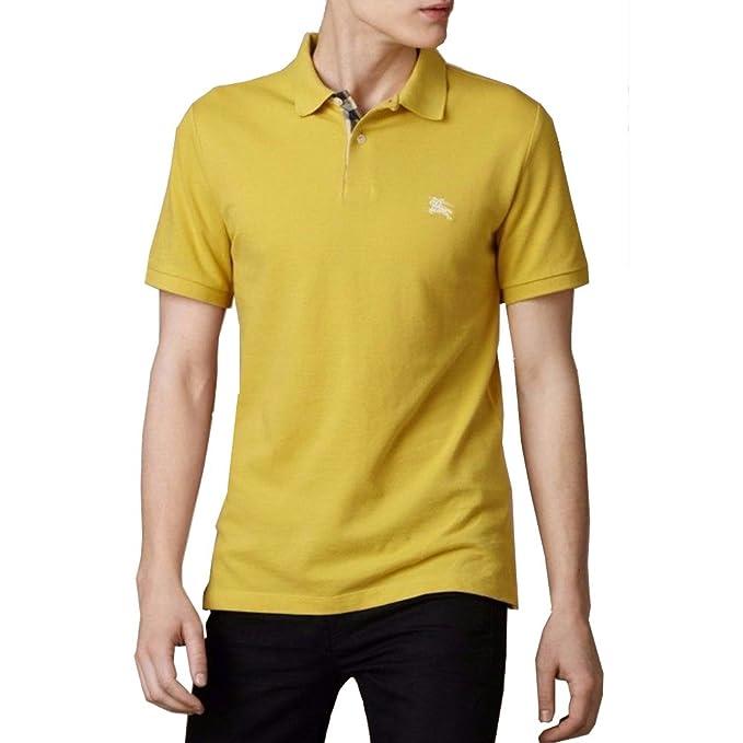 Burberry Brit Men s Gorse Yellow Check Placket Pique Polo Shirt Modern Fit  (XX-Large 0ed58bb244df
