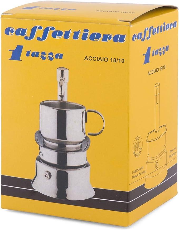 Bialetti Espresso cafetera 1 caño 1 Taza, Acero Inoxidable, Gris ...