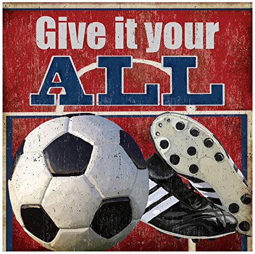 BR &Nameinternal - Give It Your All - Soccer 30x30 canvas Wall Art, by Lori Siebert by Oopsy Daisy