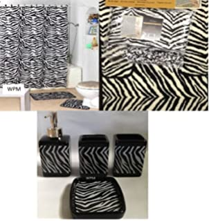 Amazoncom Brown Safari Piece Bathroom Set Animal Print Bath - Black and white zebra bath rug for bathroom decorating ideas