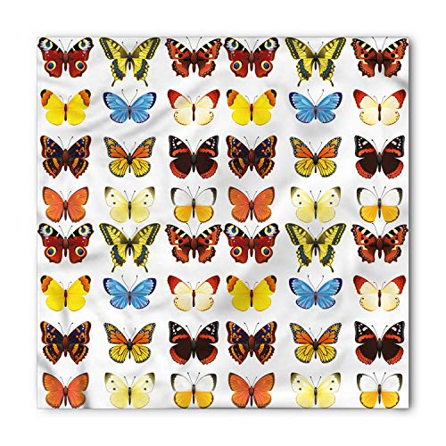 Ambesonne Unisex Bandana, Butterfly Butterflies Many Shapes, Yellow Brown