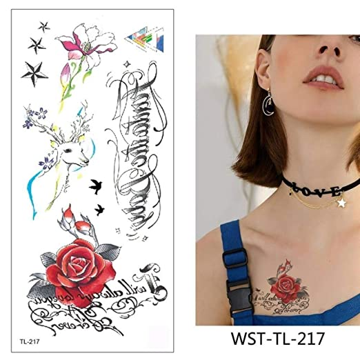 adgkitb 4pcs Tatuaje Pegatina Flores Impermeable WST-TL-217 9x19cm ...