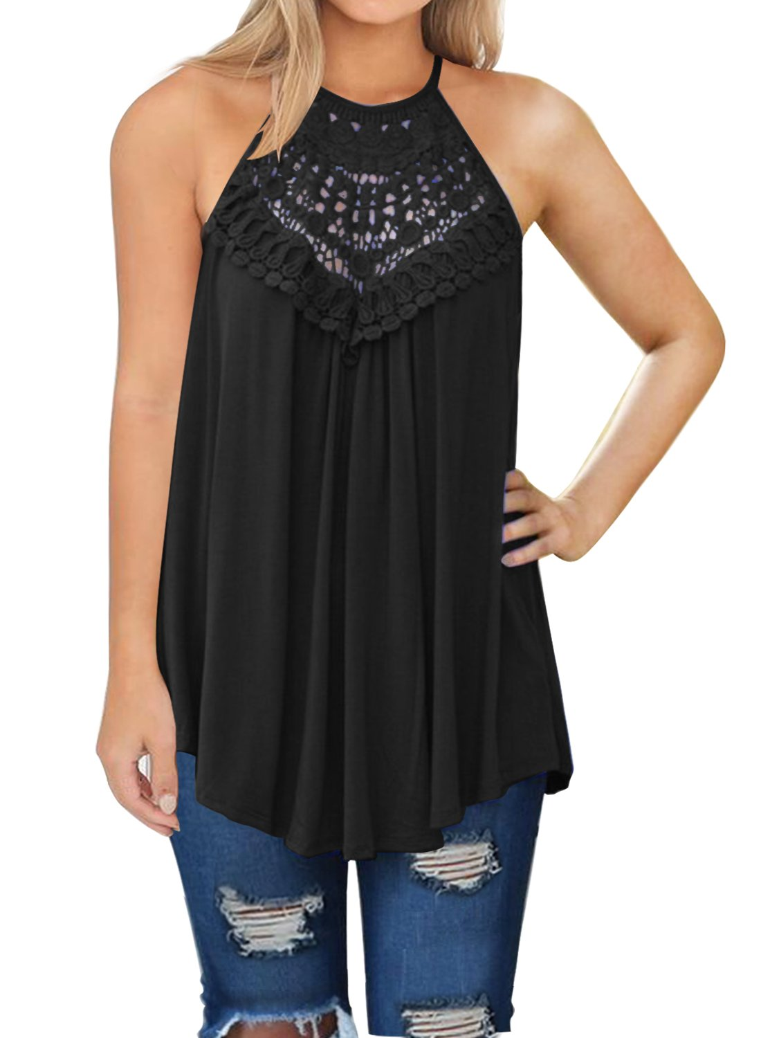 MIHOLL Womens Summer Casual Sleeveless Tops Lace Flowy Loose Shirts Tank Tops (Black, XX-Large)