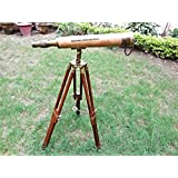 18 Inch Vintage Nautical Harbormaster Telescope/Brass Spyglass with Tripod Wooden Stand C-3173