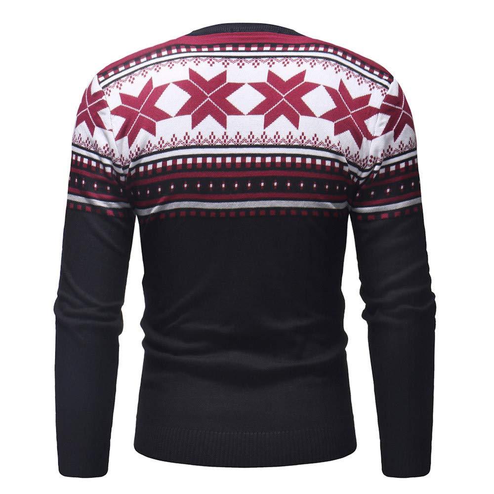 Celucke Herren Strickpullover Norweger Pullover Winter Strickjacke Warm Feinstrick Weihnachtspullover Mit Rundhals