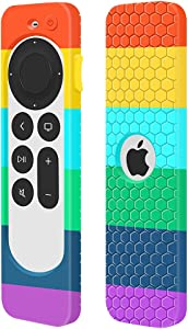 Case for Apple TV 4K 2021 Remote Control, Cover Apple Siri Remote 2nd Generation/Apple TV 6 Generation Replacement New Silicone Sleeve Skin Holder Protective Grip Protector (Rainbow)