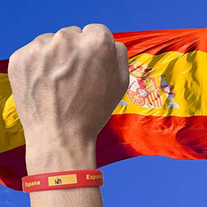 Isuper Copa Mundial de la Pulsera de Silicona de la Bandera española Pulseras de Goma Unisex Deportes Pulsera de Moda para los Deportes del Recuerdo con el Paquete: Amazon.es: Jardín
