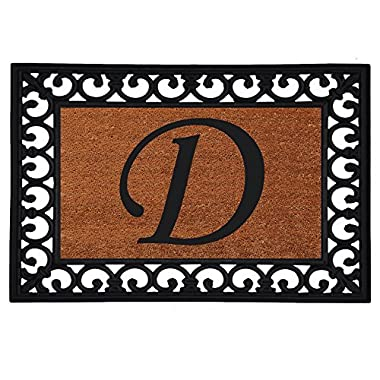 Home & More 180041925D Inserted Doormat, 19  X 25  x 0.60 , Monogrammed Letter D, Natural/Black