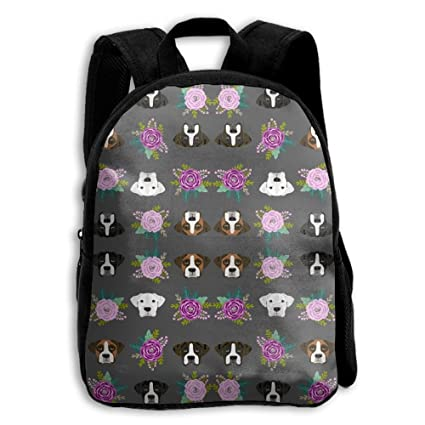 Boxer Dog Heads Design Charcoal Flowers Premium Durable Waterproof Backpacks  For Kids From 749568485d11c