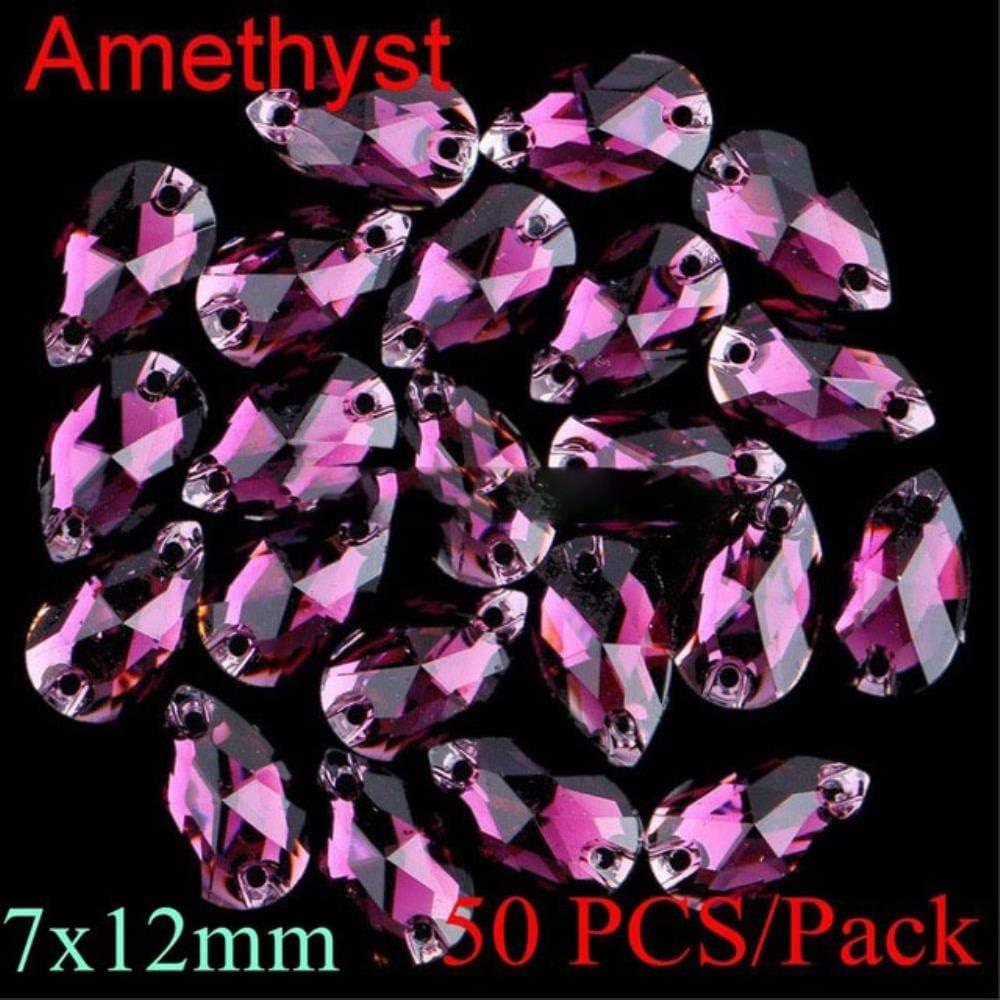 PENVEAT Diamantes de imitación en Forma de lágrima para Coser, 12 Colores Mezclados, Resina, para apartamento, con Dos Agujeros, 3 tamaños, 7 x 12 mm, Color Amatista