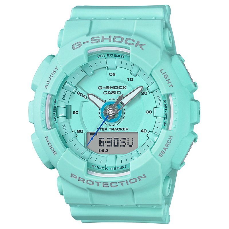 Ladies' Casio G-Shock S-Series Light Teal Step Tracker Watch GMAS130-2A
