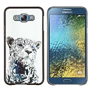 Leopardo Negro Animal del gato grande Bigotes- Metal de aluminio y de plástico duro Caja del teléfono - Negro - Samsung Galaxy E7 / SM-E700