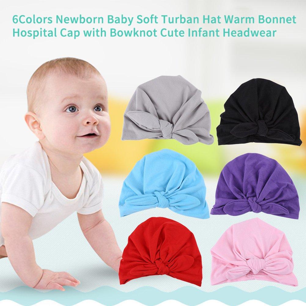 Sombrero de beb/é suave lindo vendas de algod/ón Toddler Turban nudo Headwrap buen/ástico grande arco de mariposa rosa