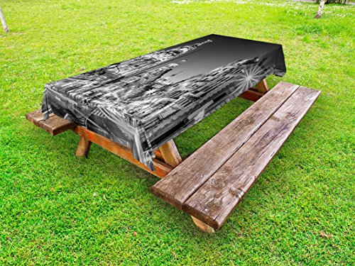 Ambesonne Black and White Outdoor Tablecloth, Madrid City at Nighttime in Spain Main Street Ancient Architecture, Decorative Washable Picnic Table Cloth, 58 X 104 Inches, Black White Grey by Ambesonne