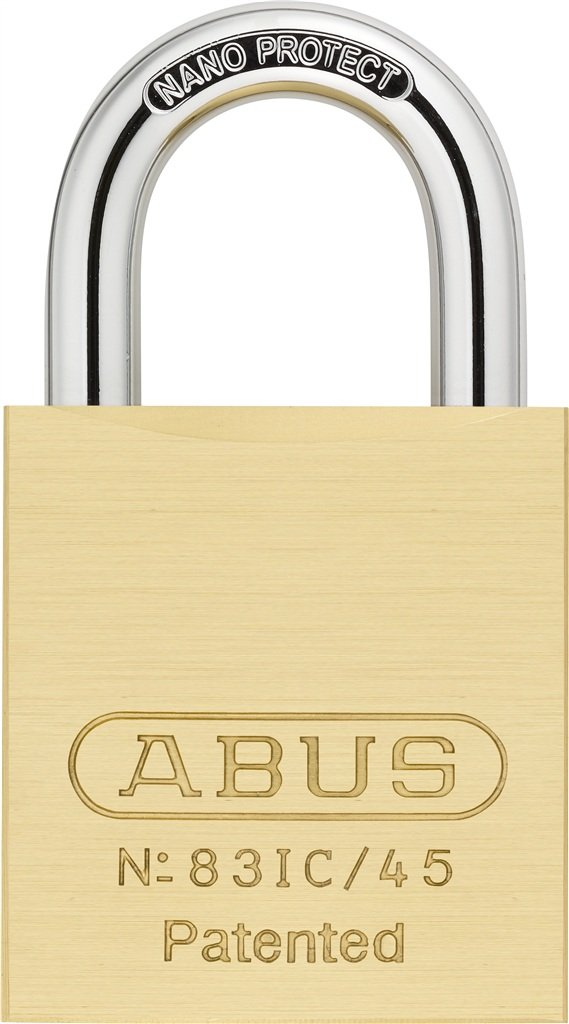 ABUS 83IC/45 S2 SFIC Small Format Interchangeable Core Brass All Weather Rekeyable Padlock w/o core with 1-Inch Shackle