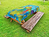 Ambesonne Outer Space Outdoor Tablecloth, for Kids Scary Monster in UFO on Planet Solar System Galaxy Funky Background, Decorative Washable Picnic Table Cloth, 58 X 120 inches, Green Blue
