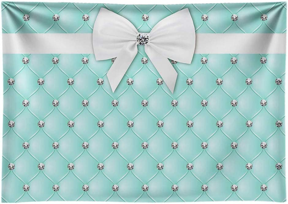 Funnytree 7X5ft Soft Fabric Diamonds Bowknot Co Blue Tufted Backdrop Breakfast Sweet 16 Birthday Party Photography Background Bridal Shower Adults Cake Table Banner Baby Girl Photo Booth
