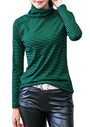 35929ce52a BYWX Women Cotton Black White Striped Turtleneck Long Sleeve T-Shirt Green  US XS