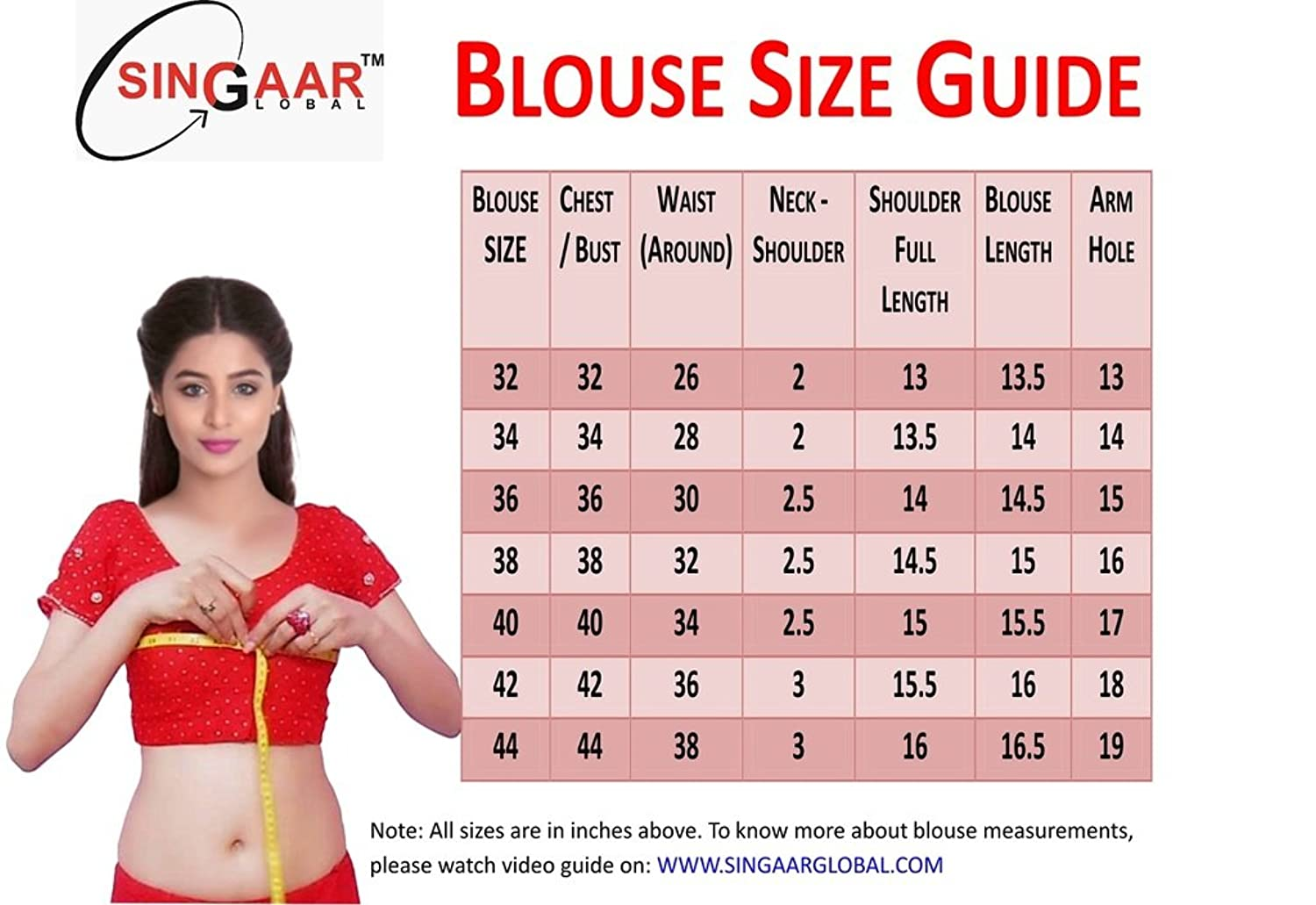readymade blouse size chart: Singaar readymade blouse design all sizes 100 perfect fitting