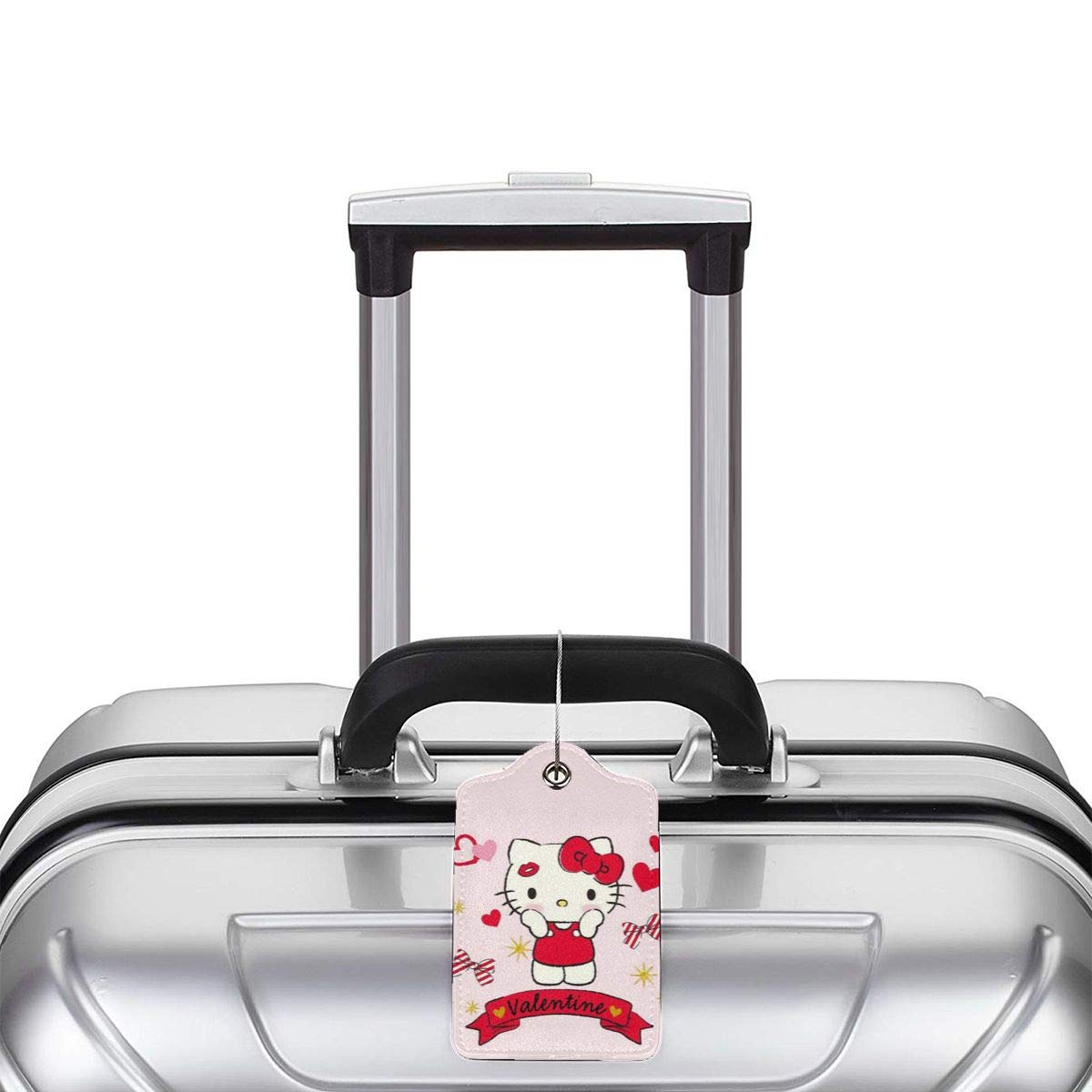 Suit For Travel,Vacation Fashion Hello Kitty Love Heart Soft Leather Luggage Tags With Privacy Cover 1-4 Pcs Choose