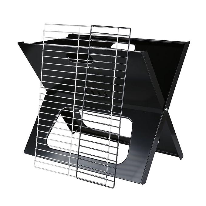 OUTU X Parrilla Carbón Asador Plegable Barbacoas Exterior (Acero, Cromado, Superficie Cocción 228sq, Portátil), Negro: Amazon.es: Hogar