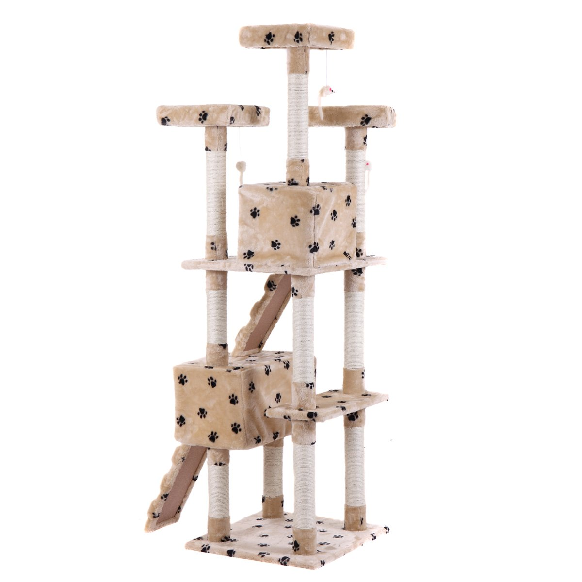 LAZYMOON 67'' Cat Tree 4-Tier Tower Condo Play House Furniture w/ Scratching posts and Toy Mouse Beige with Footprint by LAZYMOON (Image #3)