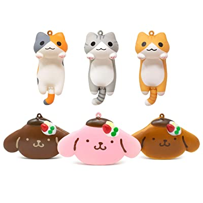 Hamee Niconico Nekomura Tabby Cat Squishy Series & Pompompurin Pancake Squishy Series (Full Set, 6 Piece Set) [Birthday Gift Box, Party Favors, Gift Basket, Stress Relief Toys for Kids & Adult]: Toys & Games