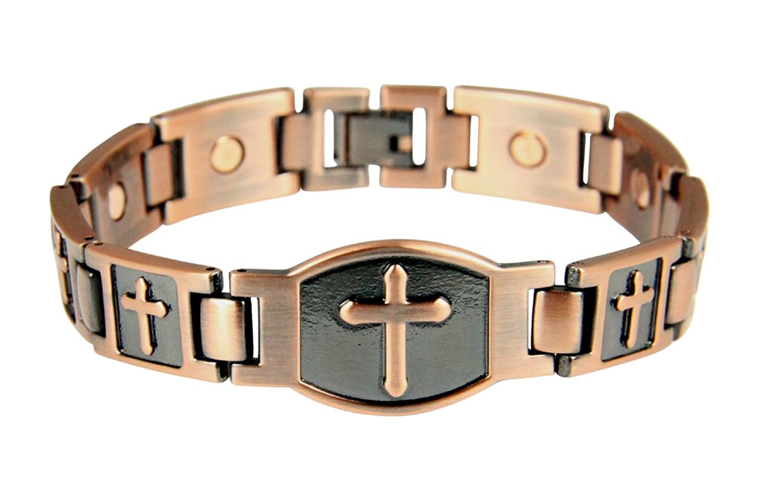 4031679 Mens Magnetic Bracelet Christian Cross Health Copper Tone Removeable Links