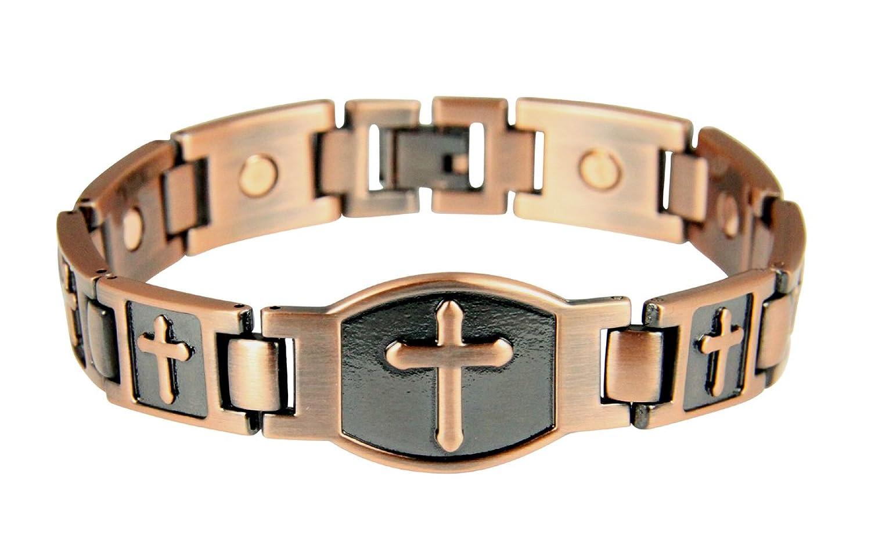 4031679 Mens Magnetic Bracelet Christian Cross Health Copper Tone Removeable Links