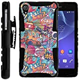 TurtleArmor | Sony Xperia Z2 Case | D6503 [Hyper Shock] Hard Reinforced Rugged Impact Hybrid Cover Belt Clip Holster Kickstand - Comicbook Sound Effects