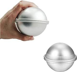 Extra Large Metal Bath Bomb Mold-DIY Aluminum Bath Bomb Molds-2 Set 4 Pieces - Make 9 cm/3.5 inch Diameter Incredible Ball