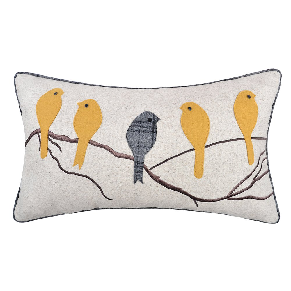 JWH Birds Accent Pillow Cases Applique Hand Emobroidery Cushion Covers Wool Decorative Pillowcases Home Sofa Car Bed Living Room Decor Shams Gifts 14 x 24 Inch Yellow