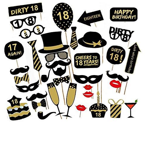Losuya 18th Birthday Party Photo Booth Props 36pcs DIY Set Funny Photobooth Prop for Unisex 18th Birthday Celebration -