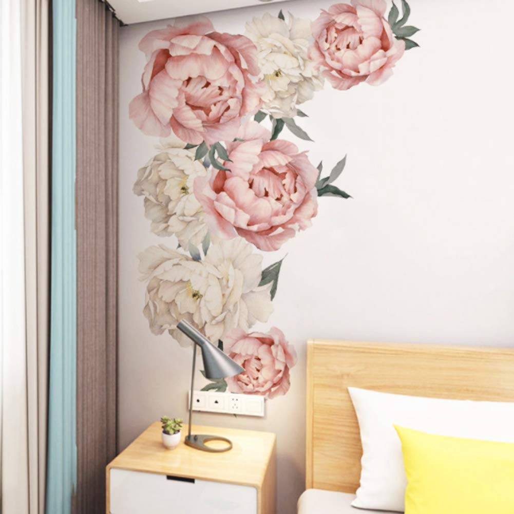 Decorative Wall Stickers Peony Flower Pattern Wall Decals Floral Wallpaper Art Applique Bedroom Decoration Background Sticker Home Decor Wall Stickers Murals Tools Home Improvement