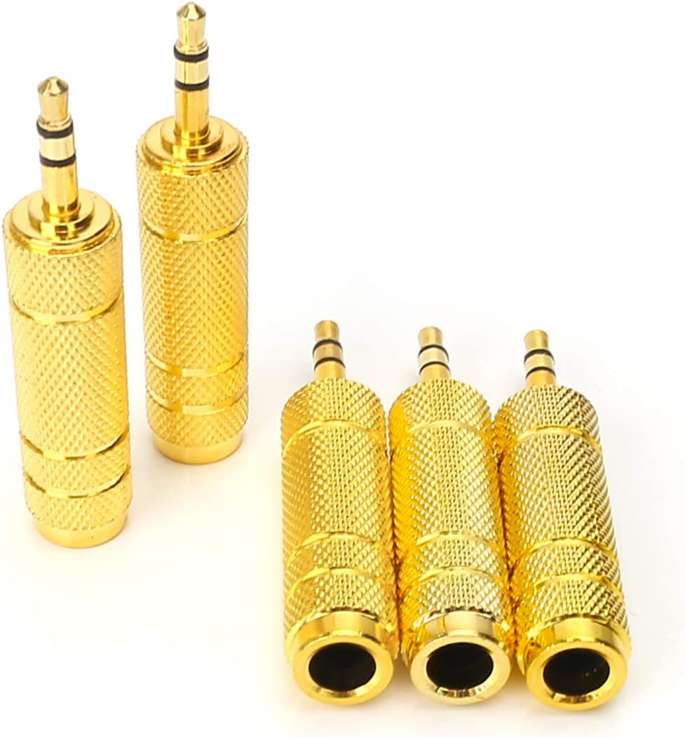 """SiYear (5 Pack) 3.5mm 1/8"""" Male Plug TRS to 6.35mm 1/4"""" Female Stereo Jack Adaptor-Gold Plated Converte,for Audio Earphone ,Headphones ect"""