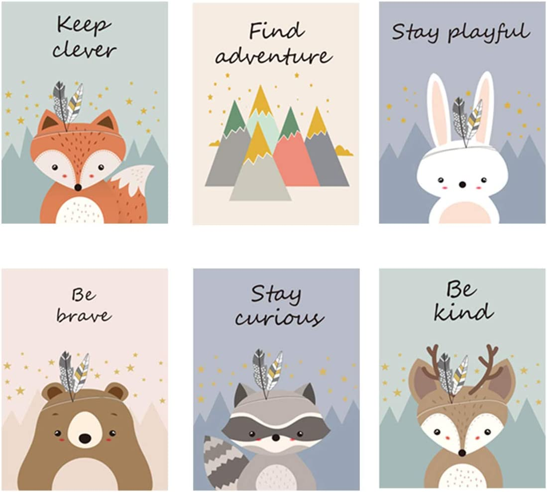 Imikoko Wall Decor, Kids Room Decor Cute Cartoon Animal Canvas Poster Prints for Children Bedroom Decoration, Canvas Artwork for Living Room Decoration, Set of 6, 8.2x11.8 Inches, No Frame
