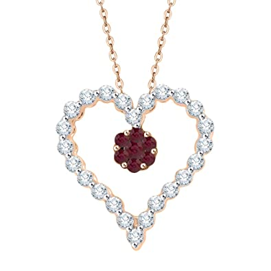 ce85fb747 Amazon.com: KATARINA Prong Set Diamond and Ruby Heart Pendant Necklace in  10K Rose Gold (1/4 cttw, J-K, SI2-I1): Jewelry