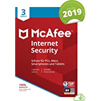 McAfee Internet Security 2019 | 3 Geräte | 1 Jahr | PC/Mac/Smartphone/Tablet | Download [Online Code]