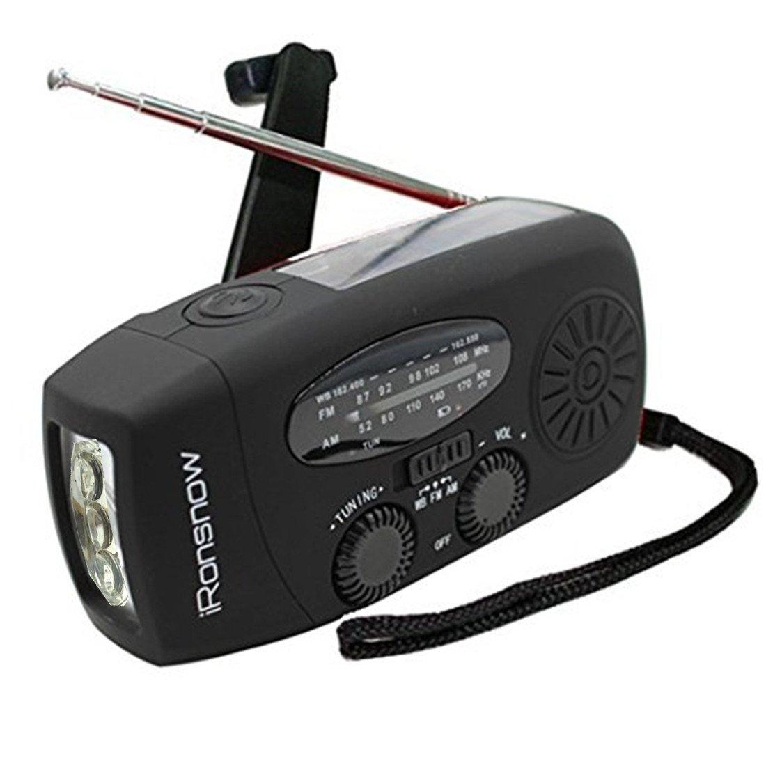 (Classic Creator) iRonsnow Solar Emergency NOAA Weather Radio Dynamo Hand Crank Self Powered AM FM WB Radios 3 LED Flashlight 1000mAh Smart Phone Charger Power Bank(Black)