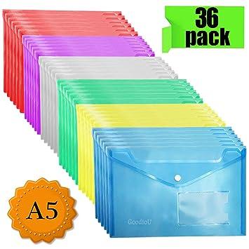 Carpeta Plastico A5 - 36 Unidades Carpetas Sistemas de Archivo Fundas de Plástico para Documentos con Botón, Varios Colores: Amazon.es: Oficina y papelería
