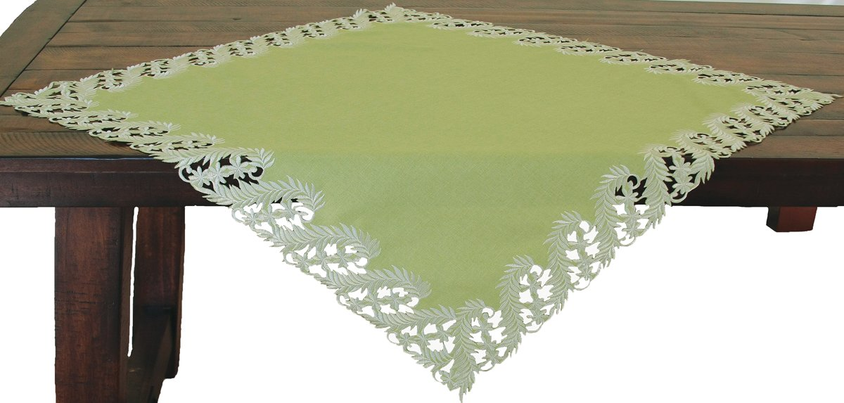 Xia Home Fashions Laurel Embroidered Cutwork Spring Table Topper, 34 by 34-Inch, Green