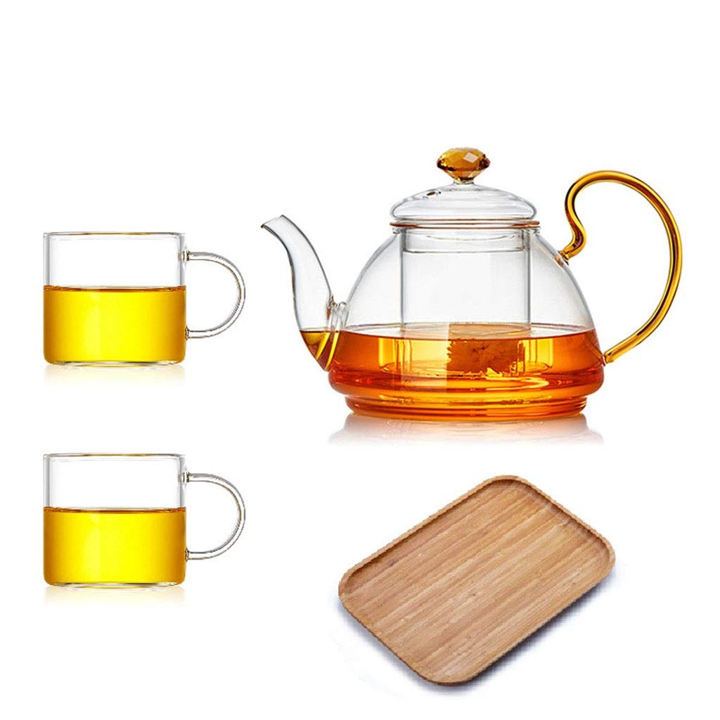 Glass teapot high temperature thickening large capacity household heat resistant tea separation tea filter teapot set CHAJU (Color : C) by CHAJU