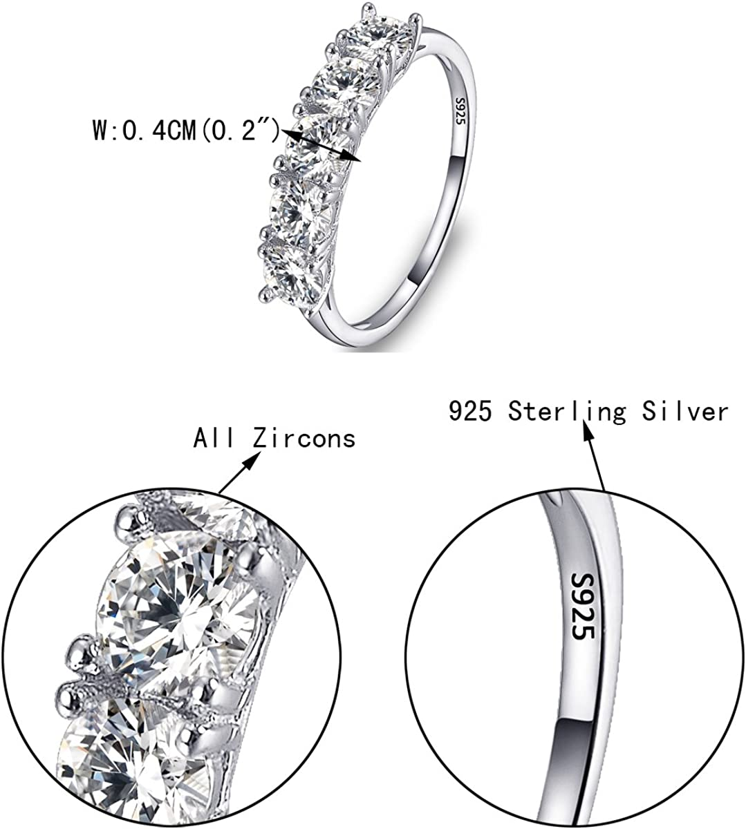 EVER FAITH 925 Sterling Silver Prong Round CZ Half Eternity Engagement Bride Ring Clear