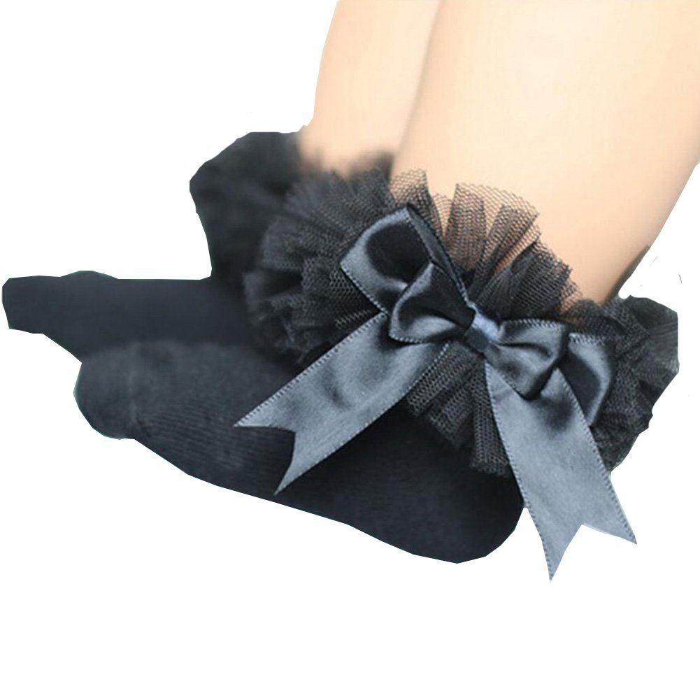 ONE'S Newborn Infant Baby Toddler Girls Princess Bowknot Lace Ruffle Frilly Trim Ankle Sock (0-2 Years, Black)